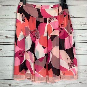 Worthington Skirt Pleated Lined Geometric Flowers